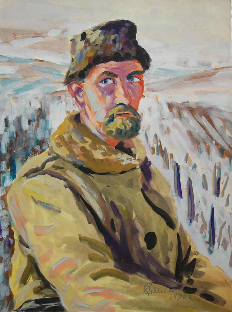 Selbstportrait vor winterlichem Weinberg